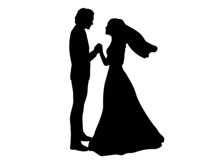 Silhouette of bride and groom holding hands