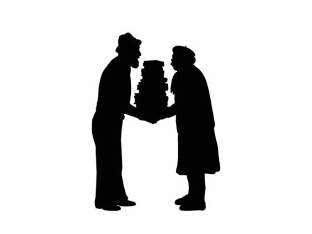 Silhouettes of grandparents hold lot of books. Illustration graphics icon