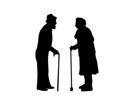 Silhouettes of grandparents are standing against each other. 일러스트