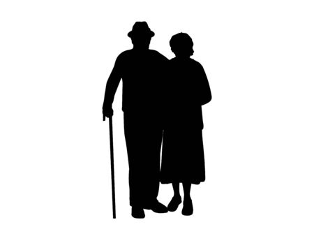 Silhouettes of grandparents stand together. Illustration graphics icon 矢量图像