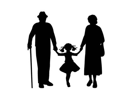 Silhouettes of grandparents walking with granddaughter. Illustration graphics icon