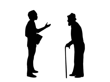 Silhouettes of doctor and grandfather. Illustration graphics icon