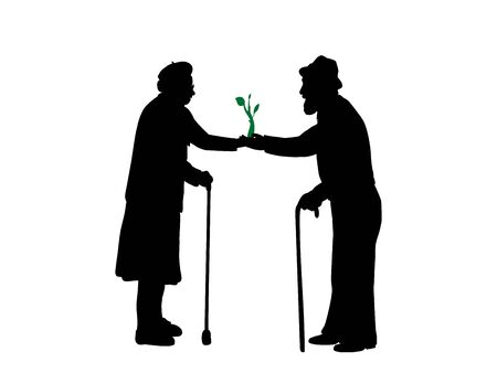 Silhouettes of grandparents hold a sprout. Illustration graphics icon 矢量图像