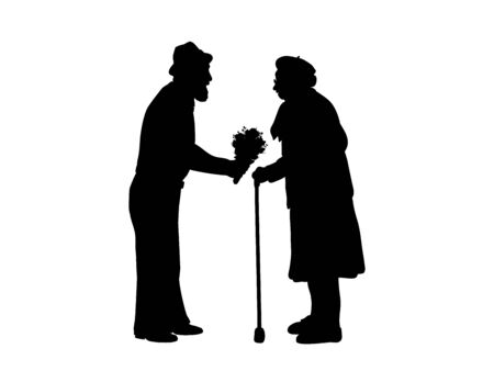 Silhouettes grandfather gives flowers to grandmother. Illustration graphics icon