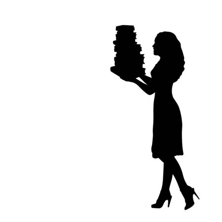 Silhouette woman holds books