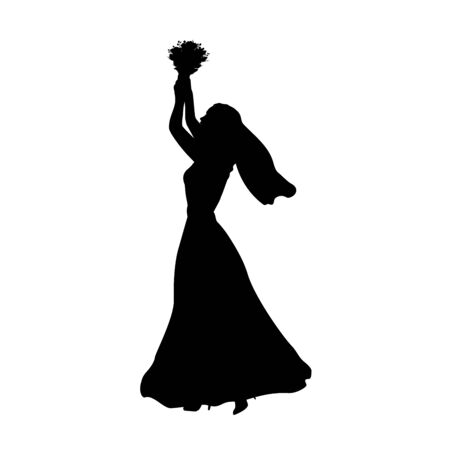 Silhouette bride throws bouquet of flowers