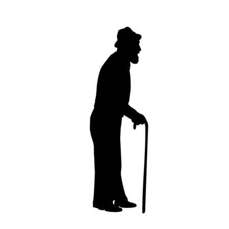 Silhouette grandfather stands sideways