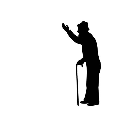 Silhouette of grandfather with hand indicates the direction 일러스트