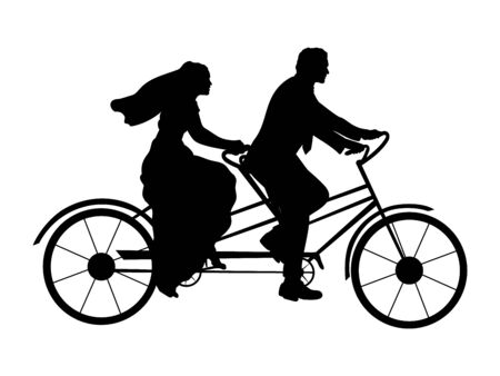 Silhouette of bride and groom on bicycle. Symbol illustration icon 일러스트