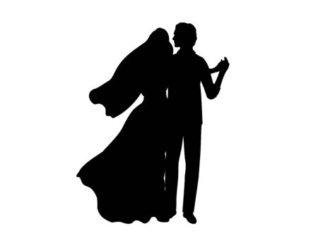 Silhouette of the bride and groom dancing. Symbol illustration icon