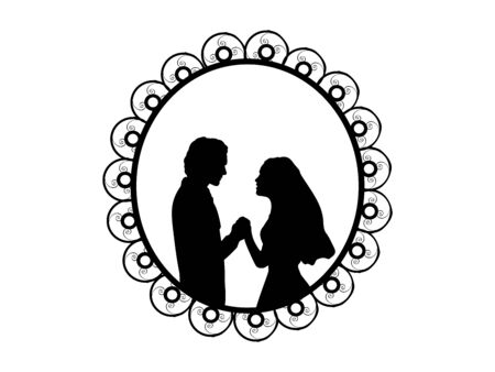 Silhouette bride and groom in frame. Symbol illustration icon
