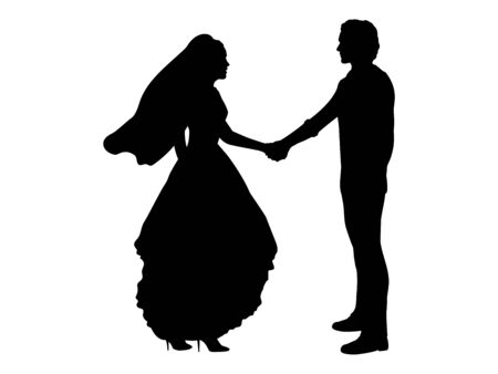 Silhouette groom and bride stand nearby and hold hands. Symbol illustration icon