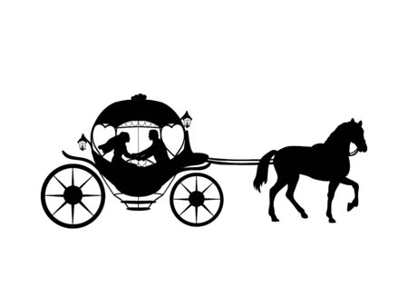 Silhouette of bride and groom in coach. Symbol illustration icon 일러스트