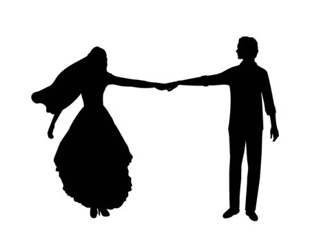 Silhouette of happy bride and groom holding hands. Symbol illustration icon 일러스트