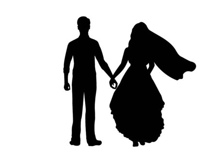 Silhouette of bride and groom go forward holding hands. Symbol illustration icon