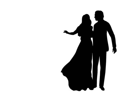 Silhouette of man and woman in dance. Symbol illustration icon 일러스트