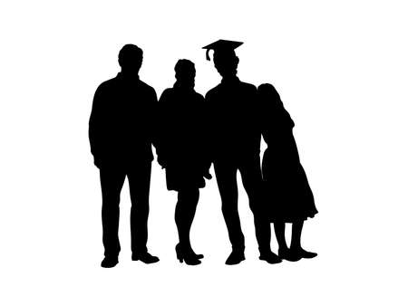 Silhouette of family with young male graduate. Illustration graphics icon 일러스트