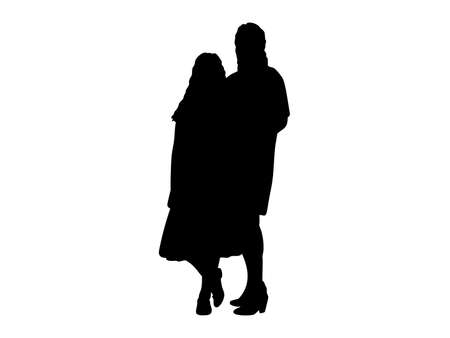 Silhouettes of mothers with daughter girl. Illustration graphics icon