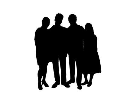 Family silhouettes parents and teens. Illustration graphics icon