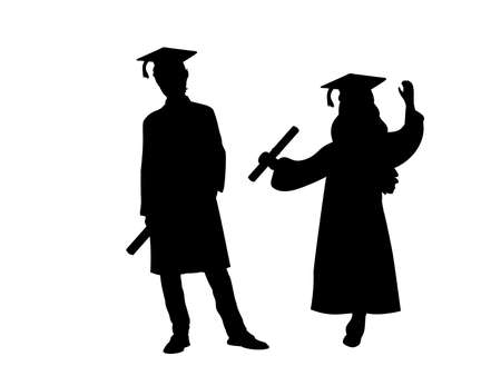 Silhouettes of young man in young girl graduates. Illustration graphics icon 일러스트