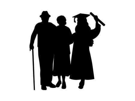 Silhouette girl graduate hugs grandparents 일러스트