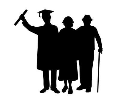 Silhouettes of male graduate hugs grandparents