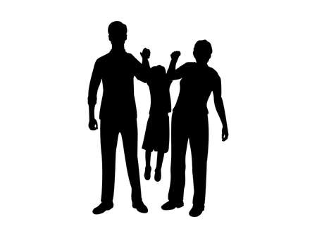 Silhouettes of dad with mom raising son in his arms