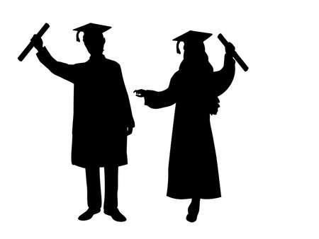 Silhouettes of happy boy and girl graduates