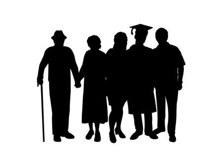Silhouette man graduate hugs family of parents and grandparents