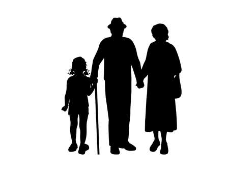 Silhouette of girl walking with grandparents 矢量图像