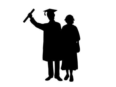 Silhouettes of male graduate hugs grandmother