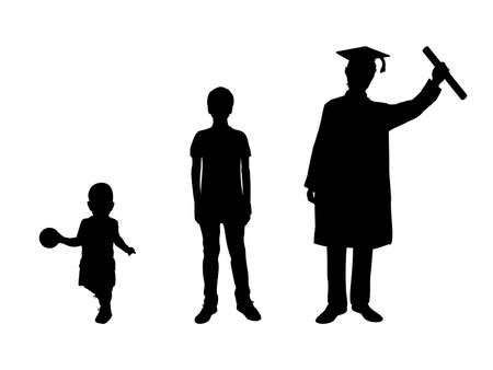 Silhouette graduate growing up. Kid boy young man