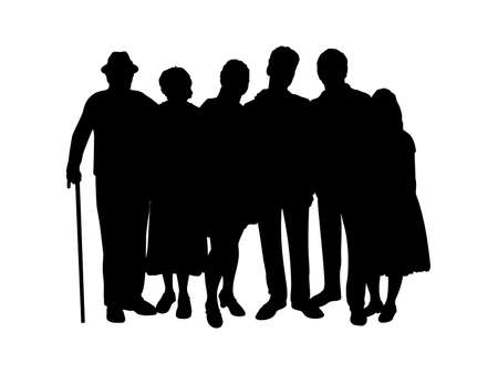 Family silhouette kids parents and grandparents