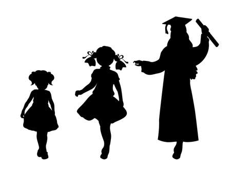 Silhouette of graduate growing up. Baby girl young woman 일러스트