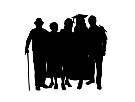 Silhouette girl graduate hugs family of parents and grandparents 일러스트