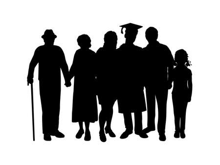 Silhouette of a young man graduate with family and grandparents