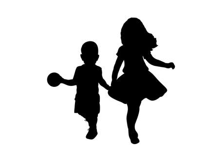 Silhouettes of boy and girl. Older sister and younger brother
