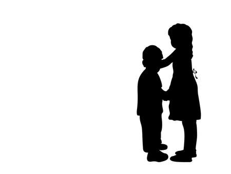 Silhouettes of girls older sister and boy younger brother
