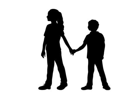 Silhouettes of girl older sister guides boy younger brother