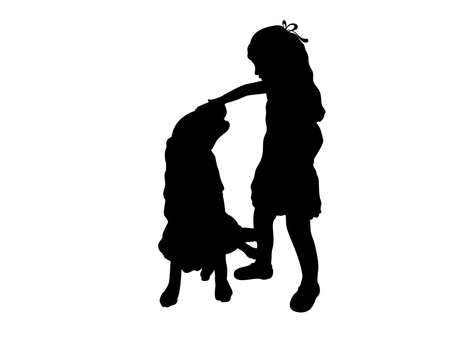 Silhouette of girl playing with dog