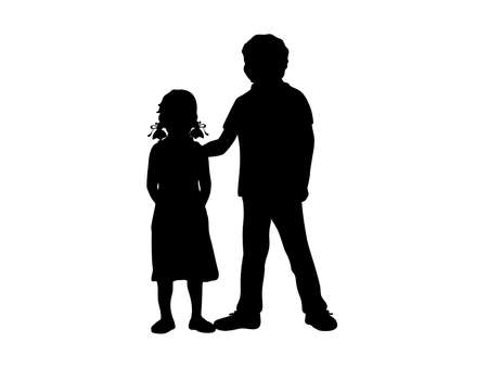 Silhouettes of boy and girl. Older brother and younger sister.