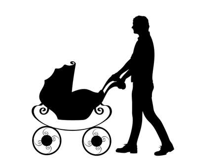 Silhouette father male pushing baby stroller 矢量图像