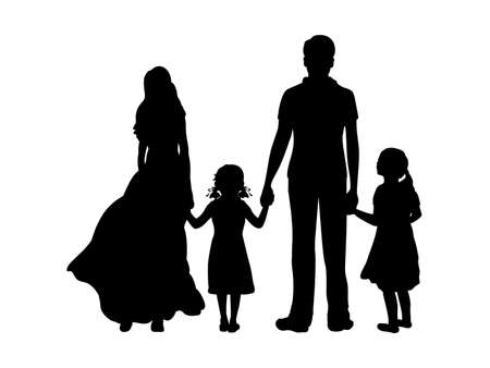 Silhouettes father mother and two daughters from back hold hands Vetores