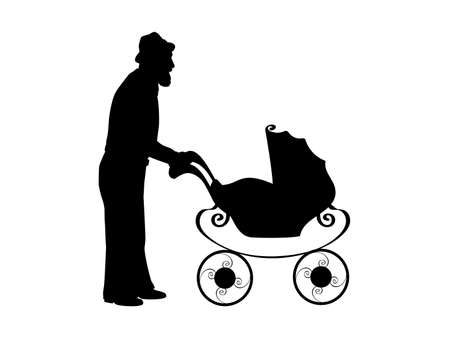 Silhouette of grandfather with baby stroller