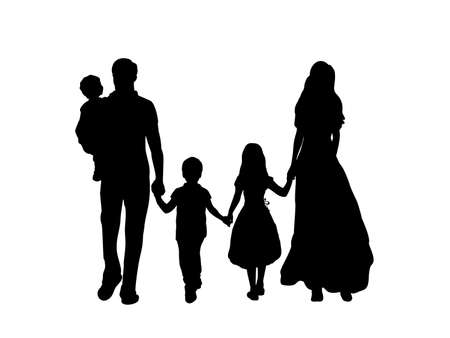 Family silhouettes father mother and three children from back Vector Illustration