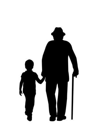 Silhouette of grandfather walking with grandson