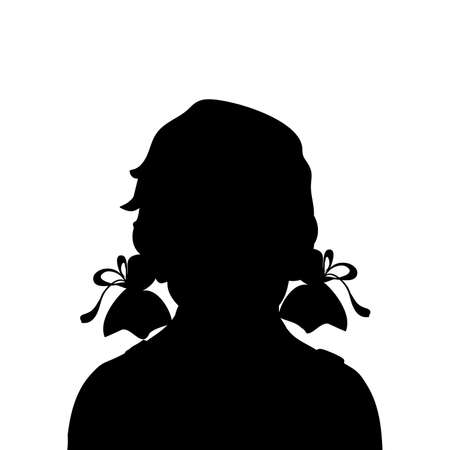 Silhouette face girl kid close up