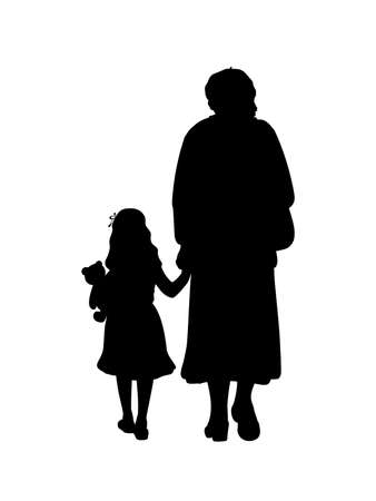 Silhouette of grandmother walking with granddaughter