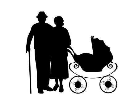 Silhouette of grandparents with baby stroller