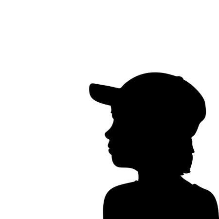 Silhouette face boy in baseball cap closeup